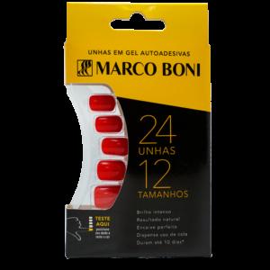 Unhas Postiças com Aba Adesiva Vermelho Claro - Marco Boni